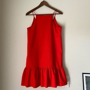 Zara orange red shift dress M